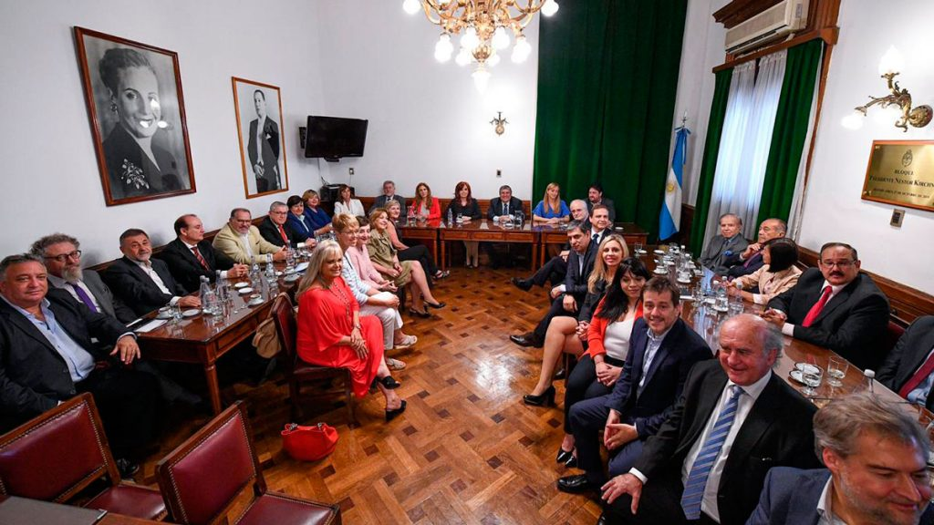 Reunión de bloque del Frente de Todos en el Senado